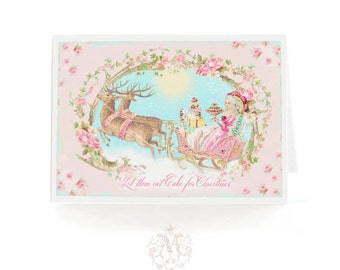 Marie Antoinette Christmas card, let them eat cake, reindeer sleigh ride, pink, holiday card, blank inside