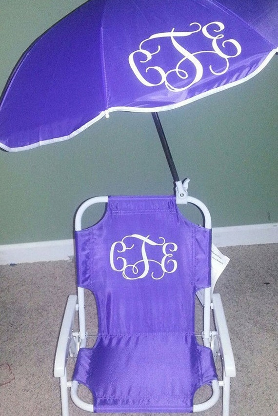 Toddler Kids Childrens Beach Chair And Umbrella Monogrammed