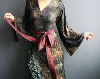 Seance of Light  - iheartfink Handmade Hand Printed Womens Black Botanical Wearable Art Print Ruffle Hem Jersey Wrap Dress