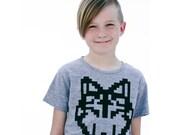 Hand silkscreen pixel wolf kids t-shirt wolf shirt gifts for kids  hipster kids fashion minecraft fun kids shirt