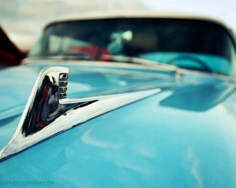 Chevy Impala Detail Photo Art - 8x12 Turquoise Classic Car Photograph - Chrome Old Car Detail - 1958 Impala Abstract Photo by Liberty Images