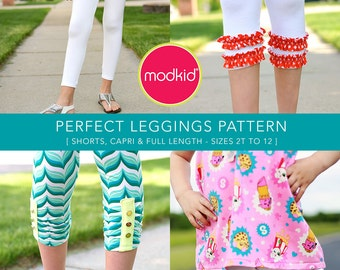 Perfect Leggings - Full Length, Capri, Shorts, Ruffled, Ruched - PDF Pattern by MODKID... sizes 2T to 12 Girls included - Instant Download