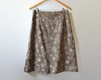 Brown Floral A Line Skirt, Vintage Clothing, 90s Clothes, Embroidered Skirt, Size US 12 Woman, Womens Mid Length Skirt, Summer Floral Skirt