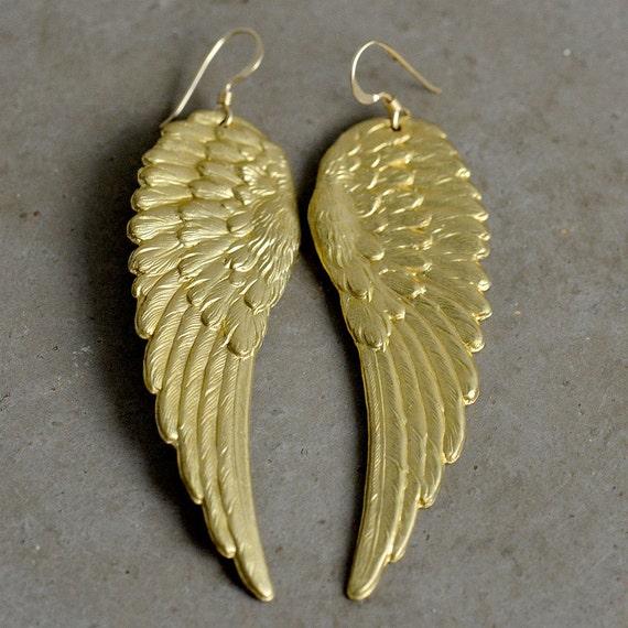 Angel Wing Earrings in Brass & Gold Fill