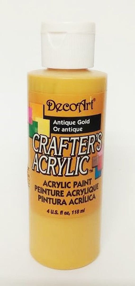 Decoart crafter 39 s acrylic paint antique gold fast for Fast drying paint for crafts