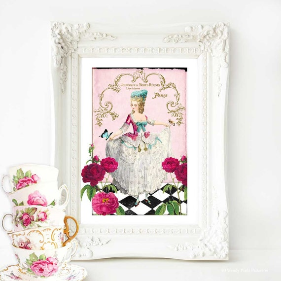 Marie Antoinette print, French vintage decor, vintage fashion, pink art, French corset, gift for her, bedroom decor, Giclee art print, A4