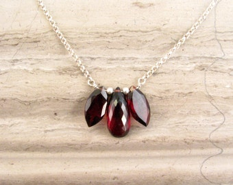 Dainty Garnet Necklace in Silver - Dark Red Necklace - Natural Garnet Gemstone Necklace - January Birthstone Necklace - Burgundy Necklace