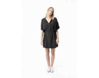 SILK DRESS black minimal Relaxed short sleeves mini shirt tunic Medium / Better Stay Together
