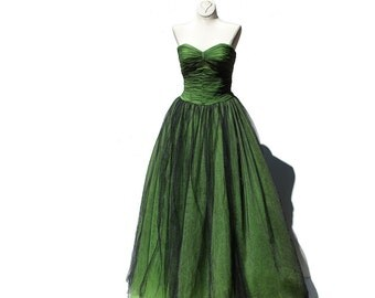 Vintage Black Tulle and Lime Green Strap Less Evening Gown