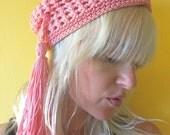 1960s Frank Olive Hat // Pink Turban // Long Tassel // 60s Mod // Eclectic // Retro // Designer Hat // Avant Garde // Flapper Accessories