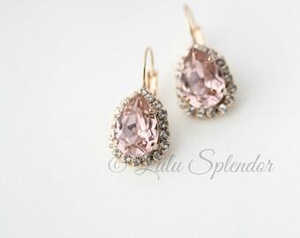 Blush Crystal Drop Earrings Rose Gold Teardrop Earrings Vintage Rose Crystal Bridal Earrings Pink Bridal Earrings Wedding Jewelry DROP Z15