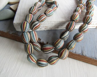 drop lampwork glass beads, multicolored striped motif, matte opaque, ethnic boho beads, Indonesian  8 to 10mm x 11 to 14mm (6 beads) 6bb12-1
