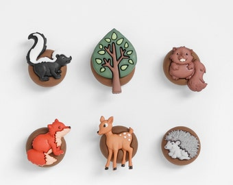 Forest Animal Friends Magnets: Beaver, Skunk, Deer, Fox, Hedgehog, Woodland Tree. Kitchen, Home Office, Wedding Decoration Gift Set of 6