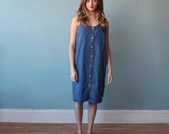 denim tank dress / oversized denim dress / sleeveless dress / 1990s medium
