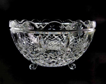 Large 24% Lead Crystal Serving Centerpiece 3 Footed Fruit Bowl Crystal Clear Industries 1960s West Germany