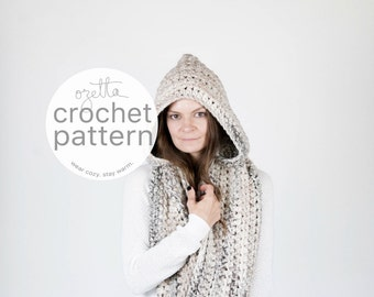 Crochet Pattern / Hooded Infinity Scarf, Cowl Wrap / THE MANITOBA