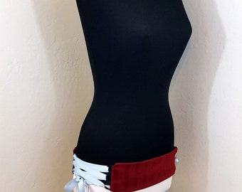 MOVING SALE Red Striped Belly Dance Belt Corset Style with Lace Up Sides