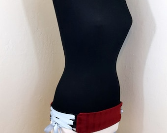 SAMPLE SALE Red Striped Belly Dance Belt Corset Style with Lace Up Sides