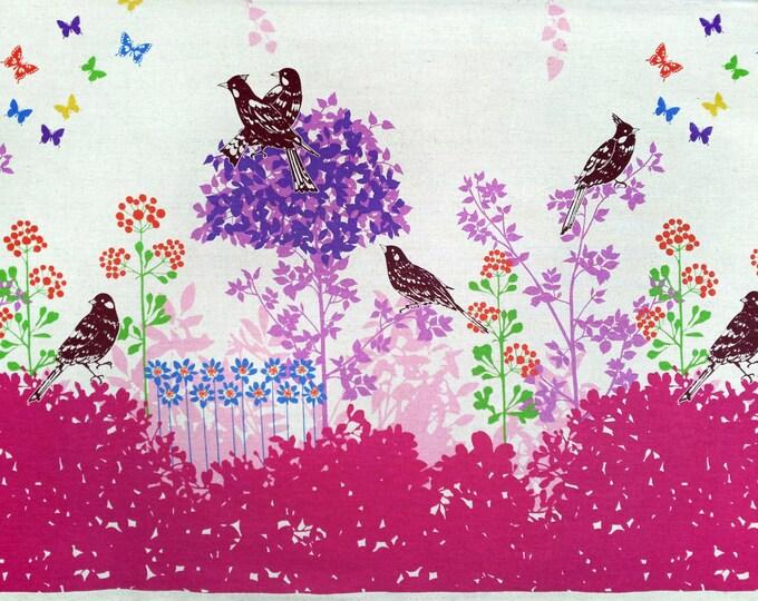 ECHINO by Etsuko Furuya - Border Cotton Linen Fabric - Perched Birds Wish EF700 Magenta