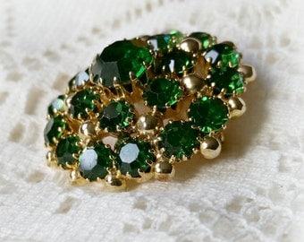 Emerald Green Rhinestone Weiss Pin, vintage 1950s, big round dome shape