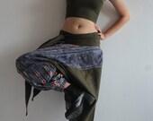 Talk of the town 100 % Hemp pants In dark Green colour, Harem, Moung pant ,