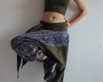 Talk of the town 100 % Hemp pants In dark Green colour, Harem, Moung pant ,