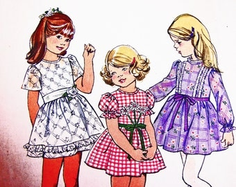 1970s Girls Dress Pattern Girls size 6 girls Party Dresses 70s Vintage Sewing Pattern UNCUT