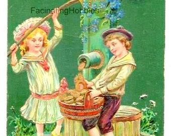 Vintage - GOLD COINS FOUNTAIN, Children- Embossed French colorful Postcard- wishes money all year round- Holidays Greetings-Good condition
