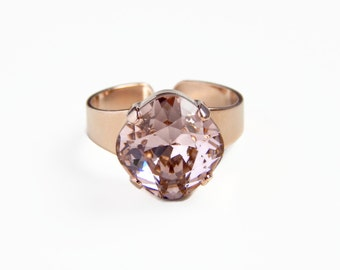 Blush pink crystal ring on rose gold band - rose gold ring- rose gold crystal ring - Swarovski ring - crystal in rose gold plated ring