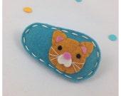 Felt Hair Clip Ginger Alley Cat, Teal Hair Clip, Kitty Cat Hair Clip, Girls Hair Clip, Orange Cat