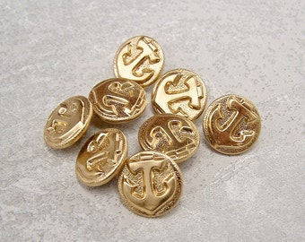Gold Anchor Buttons, 16mm 5/8 inch - Gold Tone Metal Nautical Ship Anchor Buttons - 8 VTG NOS Bright Gold Metal Anchor Shank Buttons MT074