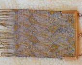 Silver Gold Tone Micro Steel Bead Purse Handbag Art Deco Era