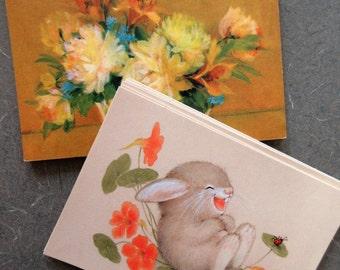 Vintage Postcards, Bunny Postcards, Hallmark Cards, Flowers Rabbits, Hallmark Postcards, Vintage Stationery, Laughing Rabbit, Floral Cards