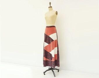 sale Vintage Maxi Skirt Velvet Lace Skirt 70s Patchwork Skirt Rose Velvet 1970s Maxi Skirt Patch Floral Skirt Bias Floral Maxi Boho m