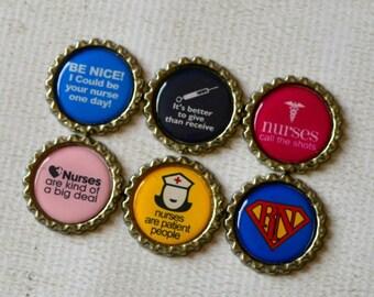 Nurse Bottlecap Magnet Set- Funny Magnets- Humorous Nurse Bottlecap Magnets, Medical Field, Graduation Gift