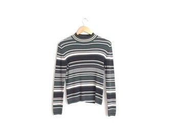 STRIPED MOCK TURTLENECK // Ribbed Knit Sweater Top - Dark Green - Vintage '90s. Size S.