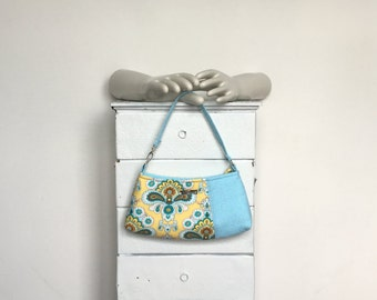 Large Wristlet Clutch BLUEBERRY LEMONADE = Amy Butler French Wallpaper lemon yellow turquoise blue polka dot adjustable jennjohn handbag
