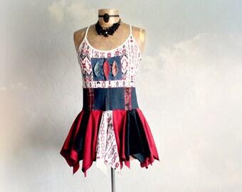 Southwestern Tribal Women's Tank Upcycled Clothing Boho Clothes Layered Shirt Artsy Art Top Bohemian Chic Summer Tunic Eco Wear S M 'CARNIE'
