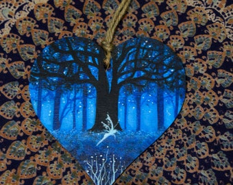 Hand painted, wooden heart, 12 cm, Faery, forest fairy,  fantasy art, Valentines