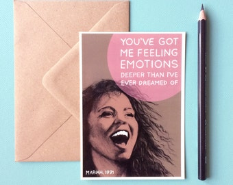 Mariah Carey Card - Emotions // boyfriend gifts, 90 rnb, funny love you card, 90s nostalgia, song lyrics art, 1st anniversary gift