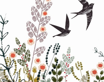Swallows  swooping swiftly over Swansea limited edition screen print by Jane Ormes