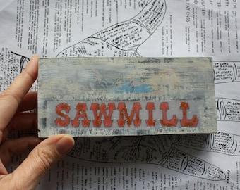 Sawmill, Jersey Shore, Boardwalk, Original Miniature Art, Wall Decor, 2 3/4 x 6