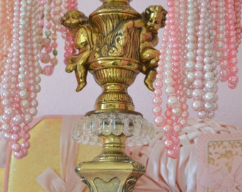 VINTAGE STORE DISPLAY extra large ornate antique cherub jewelry stand circa 1960's