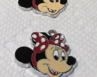 "Minnie Mouse, Polka Dot Bow, enamel charm, Disney, 1""  MMB"