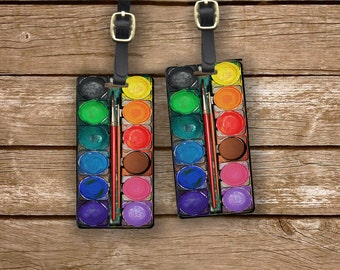 Paintset Personalized Luggage Tags Watercolor Paint Set Paintset Metal Luggage Tag Set Custom Info On Back, 2 Tags Choice of Straps