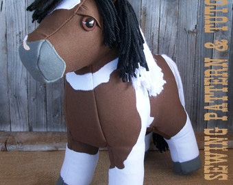 Horse Doll Plush Horse Toy Sewing Pattern and Tutorial Realistic Look Horse Softie DIY Rustic Horseshoe's Canvas Colt Horse