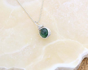 Ruby Zoisite Gemstone Pendant - Ruby Zoisite Necklace - Green Gemstone Pendant - Heart Chakra - Ruby in Zoisite Delicate Necklace