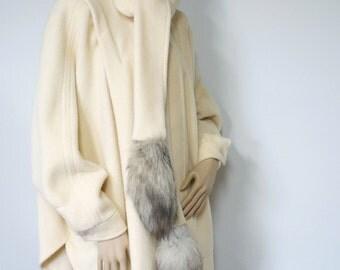 1970's Wool Cape Coat Swing Coat Draped Coat Marie Mirisola Poncho Coat Winter Coat One Size