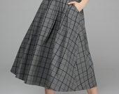 Wool skirt, plaid skirt, Maxi skirt, long skirt, Gray skirt, Long wool skirt, winter skirt, womens skirts, Ladies skirts, Circle skirt 1379