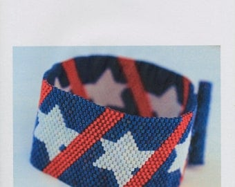 Peyote Bracelet Pattern - Patriotic Peyote Bracelet Pattern